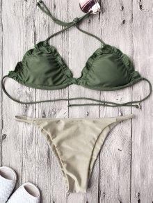 Juego De Bikini Relleno Con Relleno De Cuerda - Caqui Xl