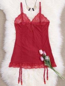 Cami Lace Panel Babydoll with Thong Panties