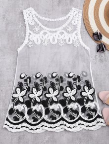 Sheer Mesh Tank Top With Flower Pattern