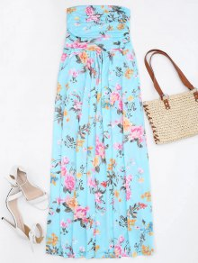 Ruched Floral Maxi Tube Dress With Pocket