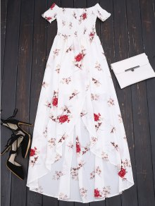 Off Shoulder Floral Shirred Asymmetric Maxi Dress - White L