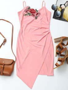 Floral Patched Asymmetrical Surplice Dress - Pink S