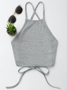 Open Back Cropped Tank Top - Gray S