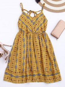 Argyle Cami Chiffon Sundress - Yellow