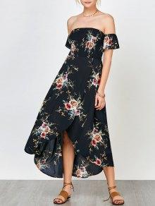 Floral Print Smocked Off The Shoulder Dress