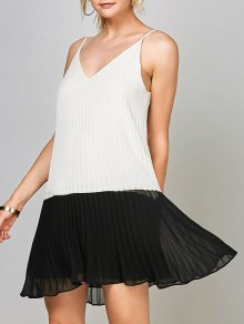 Open Back Chiffon Pleated Slip Dress - White And Black Xl