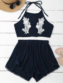 Lace Floral Halter Crop Top And Shorts - Pearl Indigo Blue S