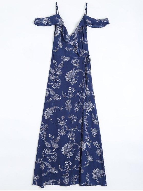 sale Cold Shoulder Paisley Ruffles Maxi Wrap Dress - PURPLISH BLUE S