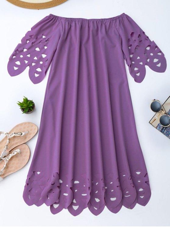 buy Off The Shoulder Flared Dress - PURPLE L