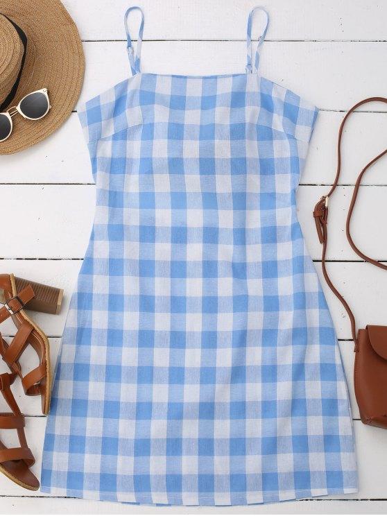 shops Slip Tie Back Plaid Dress - BLUE S
