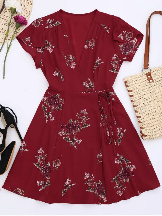 latest Floral Cap Sleeve Wrap Dress - RED S