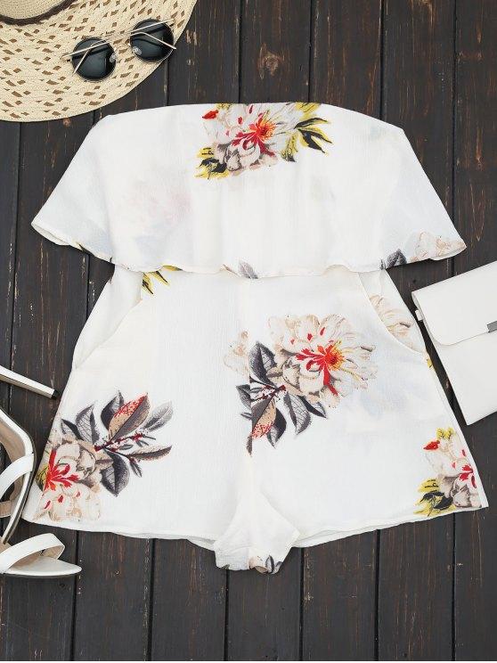 combinaison à col roulé sans bretelles à motif florale - Blanc M
