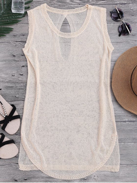 See-Through Beach Cover Up Tank Dress - RAL1001Beige TAILLE MOYENNE
