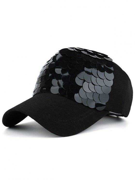Gorro con Lentejuelas en Diseño de Escama de Peces - Negro Completo