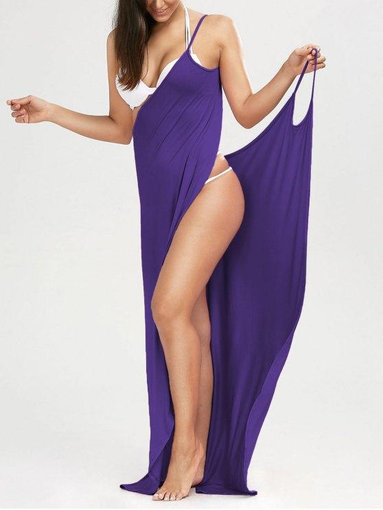 fancy Beach Maxi Wrap Slip Dress - VIOLET L