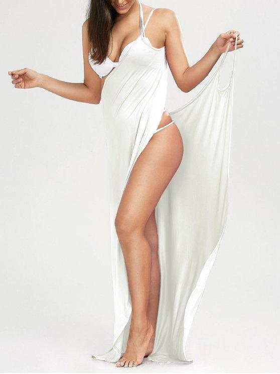 Robe de plage longue style wrap - Blanc L