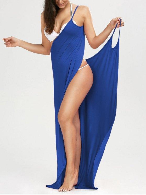 شاطئ ماكسي التفاف زلة اللباس - أزرق S
