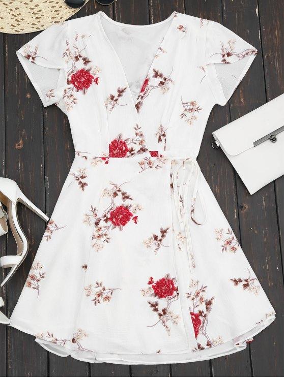 fancy Plunge Cap Sleeve Floral Wrap Dress - WHITE M