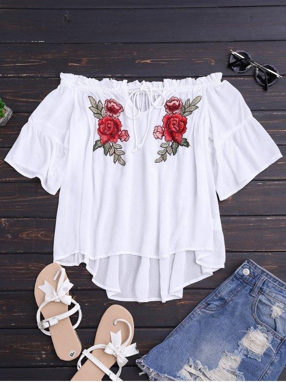 online Floral Embroidered Off Shoulder Top - WHITE XL
