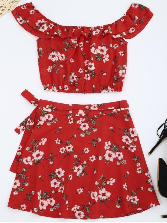 Haut épicé épaule avec jupe enveloppante - Rouge L