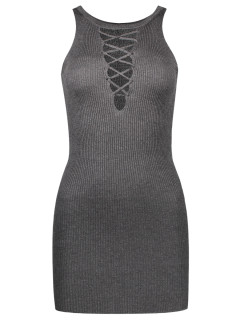 Sleeveless Lace Up Knitted Bodycon Dress - Deep Gray