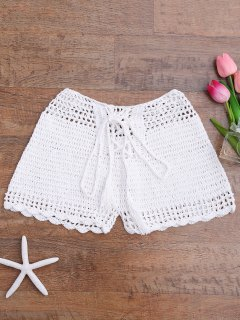 Lace Up Crochet Beach Swim Shorts - White M