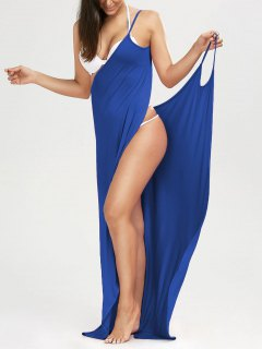 Beach Maxi Wrap Slip Dress - Blue L