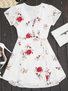 Plunge Cap Sleeve Floral Wrap Dress - White S