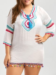 Plus Size Crochet Panel Fringe Tunic Cover Up - White