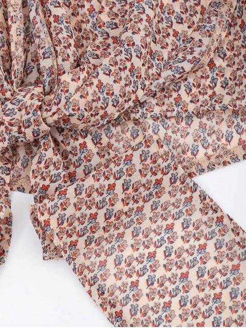 sale Floral Wrap Blouse - MULTI XL Mobile