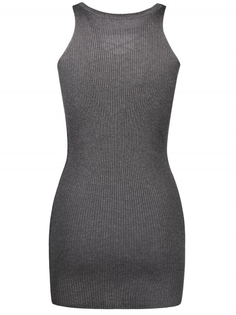 outfits Sleeveless Lace Up Knitted Bodycon Dress - DEEP GRAY ONE SIZE Mobile