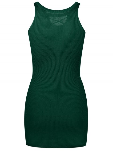 shop Sleeveless Lace Up Knitted Bodycon Dress - ARMY GREEN ONE SIZE Mobile