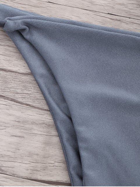 sale Frilled Padded String Bikini Set - BLUE GRAY S Mobile