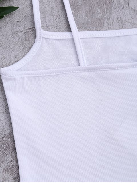 sale Cotton Letter Cropped Tank Top - WHITE ONE SIZE Mobile