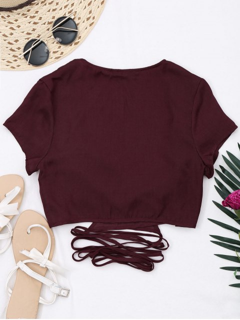women's Criss Cross Cropped Wrap Top - WINE RED S Mobile