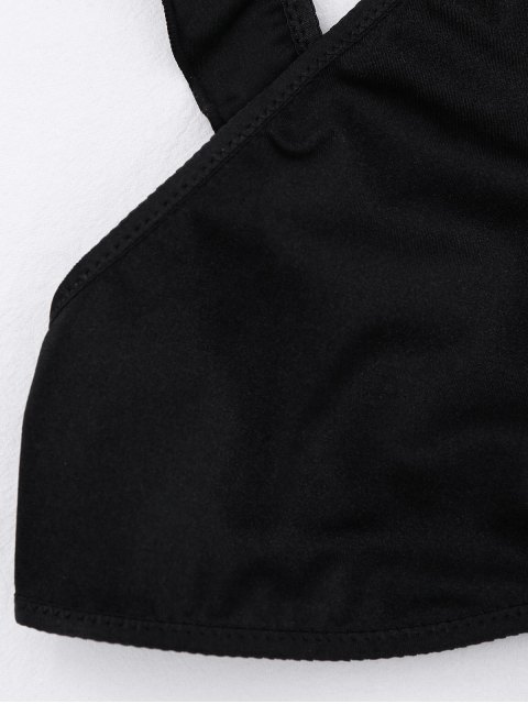 new Ruffles Cut Out Cropped Top - BLACK S Mobile