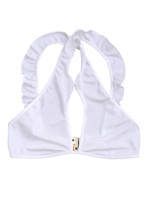 shops Ruffles Cut Out Cropped Top - WHITE S Mobile