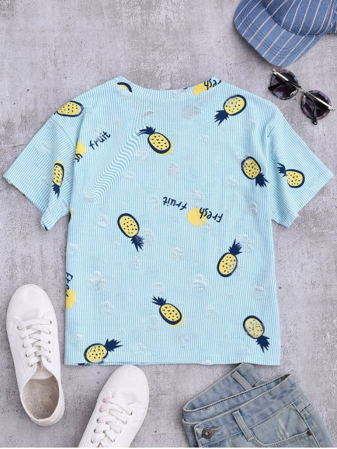 trendy Stripes Pineapple Ripped Top - LIGHT BLUE ONE SIZE Mobile