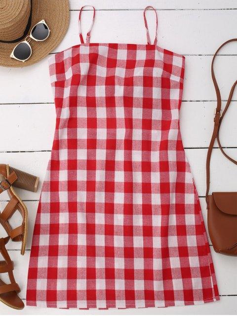lady Slip Tie Back Plaid Dress - RED XL Mobile