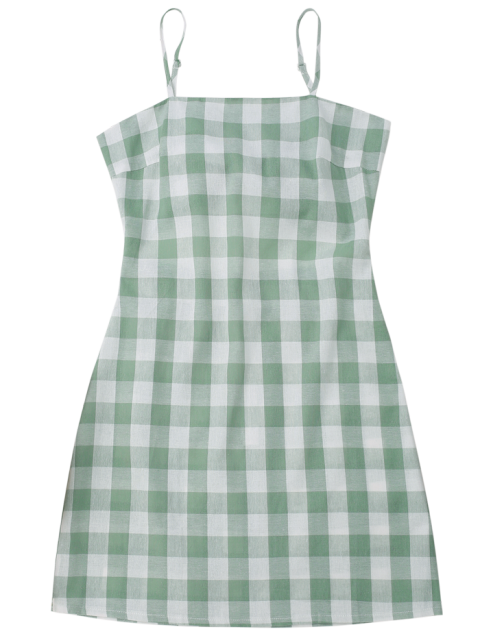 hot Slip Tie Back Plaid Dress - GREEN S Mobile