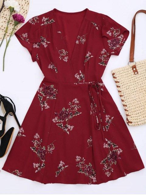 fashion Floral Cap Sleeve Wrap Dress - RED L Mobile