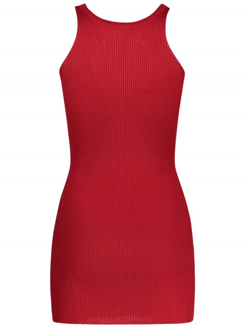women Sleeveless Lace Up Knitted Bodycon Dress - RED ONE SIZE Mobile