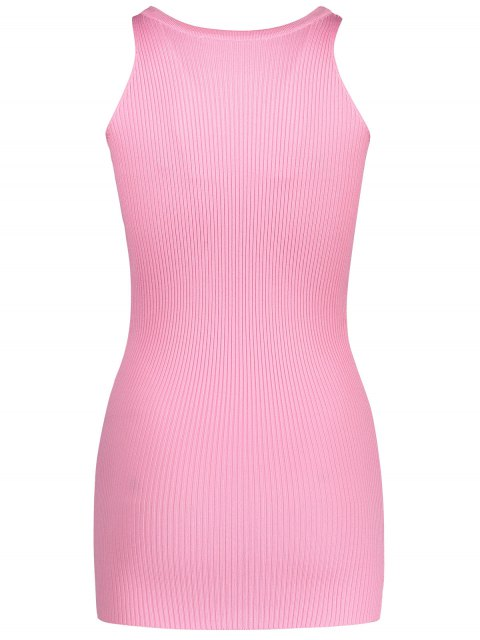 women's Sleeveless Lace Up Knitted Bodycon Dress - PINK ONE SIZE Mobile