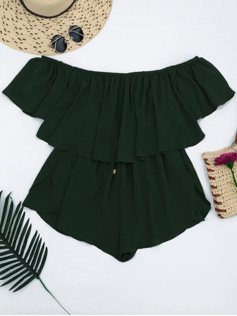 best Off Shoulder Drawstring Waist Chiffon Romper - BLACKISH GREEN L Mobile