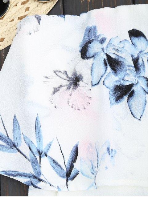 trendy Floral Overlay Tube Romper - WHITE L Mobile