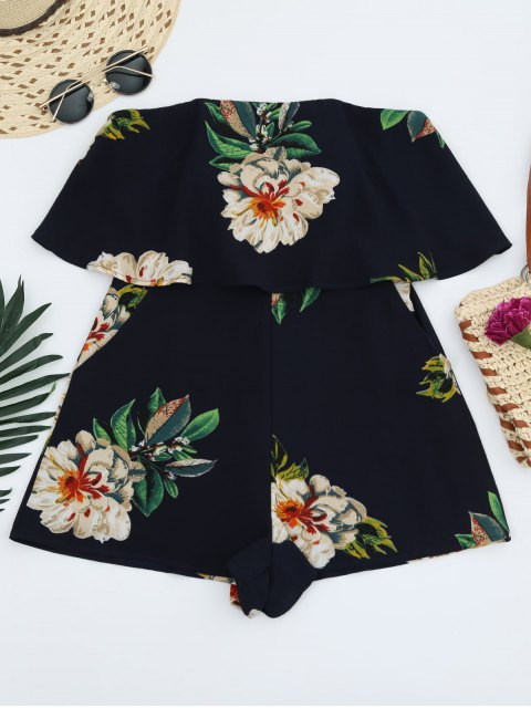 affordable Floral Strapless Ruffle Romper - PURPLISH BLUE S Mobile