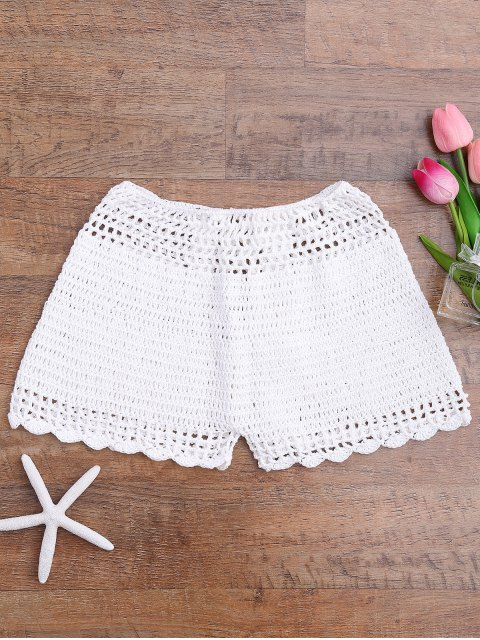 trendy Lace Up Crochet Beach Swim Shorts - WHITE S Mobile