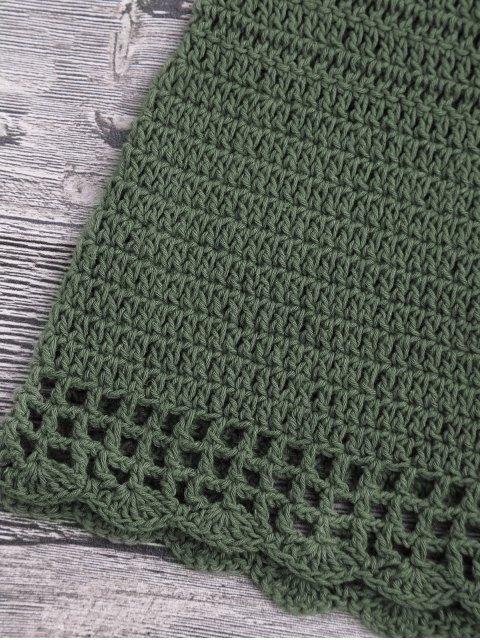 chic Lace Up Crochet Beach Swim Shorts - BLACKISH GREEN S Mobile