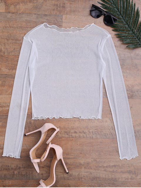 womens Shiny Sheer Mesh Beach Cover Up Top - WHITE S Mobile