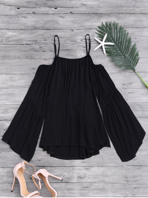 ladies Flare Sleeve Cold Shoulder Beach Cover Up Top - BLACK ONE SIZE Mobile